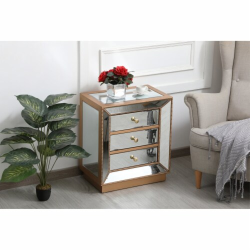 21 inch mirrored chest in antique gold Perspective: left