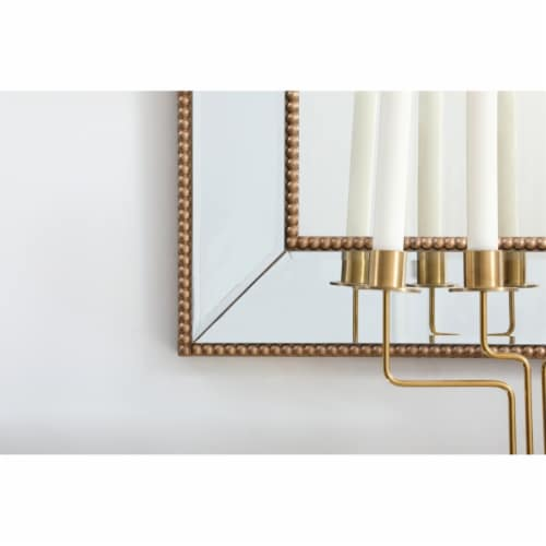 Iris beaded mirror 42 x 28 inch in antique gold Perspective: left