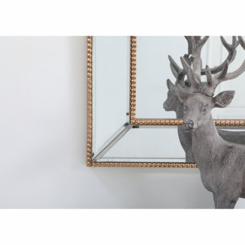 Iris beaded mirror 60 x 32 inch in antique gold Perspective: left