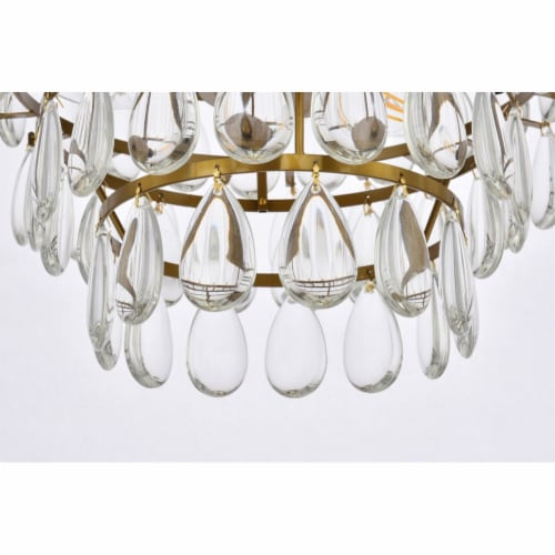 Mila 14 inch flush mount in brass Perspective: left