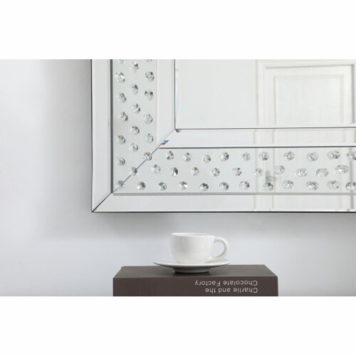 Sparkle collection crystal mirror 32 x 40 inch Perspective: left