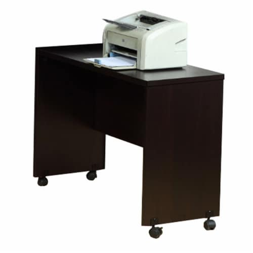 Benzara Stylish Finish Desk Return - Dark Brown Perspective: left