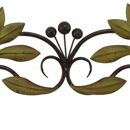 Benzara Olive Branch Door Top Wall Hanging In Metal - Green/Brown Perspective: left
