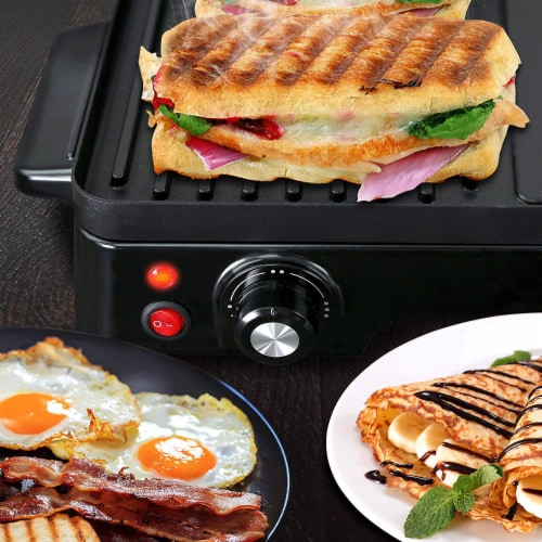 NutriChef Electric Griddle Crepe Hot Plate Cooktop with Press Grill for Paninis Perspective: left