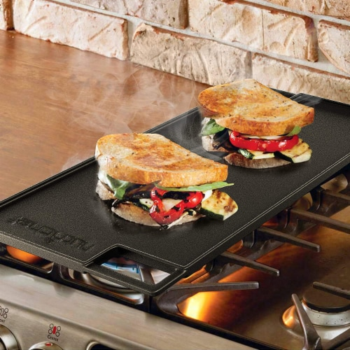 NutriChef NCCIRG59 18-Inch Cast Iron Reversible Grill Plate Perspective: left