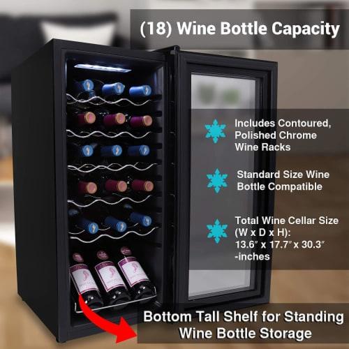 NutriChef Digital Electric 18 Bottle Thermoelectric Wine Chiller Cooler, Black Perspective: left