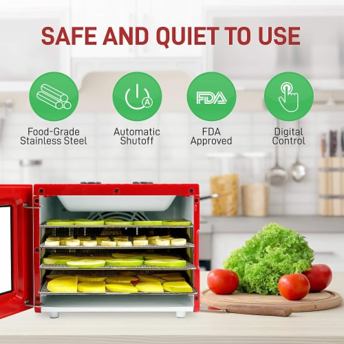 NutriChef Premium Electric Countertop Food Dehydrator Machine w/ 4 Shelves, Red Perspective: left
