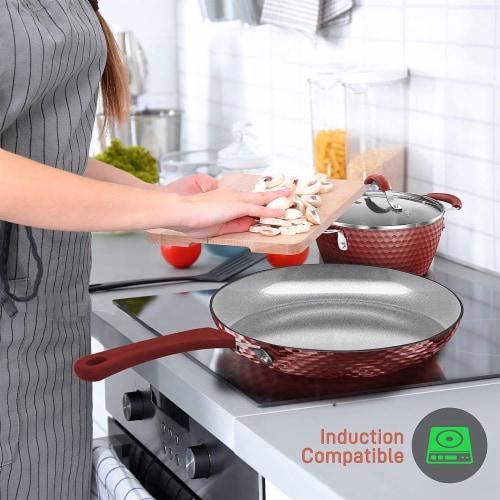 NutriChef 11 Piece Nonstick Ceramic Cooking Kitchen Cookware Pots & Pan Set, Red Perspective: left