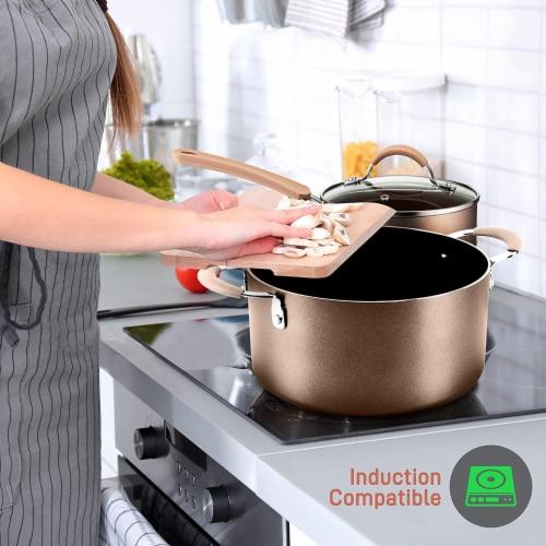 NutriChef Nonstick Cooking Kitchen Cookware Pots and Pans, 14 Piece Set, Bronze Perspective: left