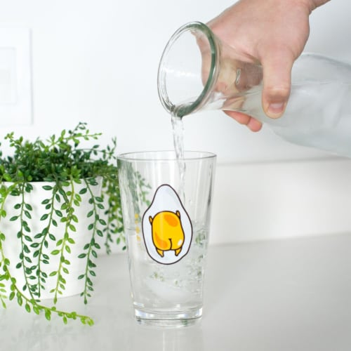 OFFICIAL Gudetama Lazy Egg Glass | Feat. Gudetama Laying Face Down | 16 Oz. Cup Perspective: left