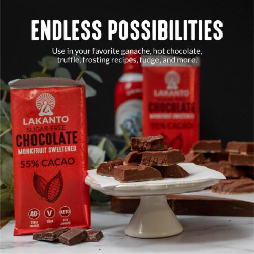 Lakanto Sugar Free 55% Cacao Chocolate Bar, 3 Ounce (8 Pack). Perspective: left