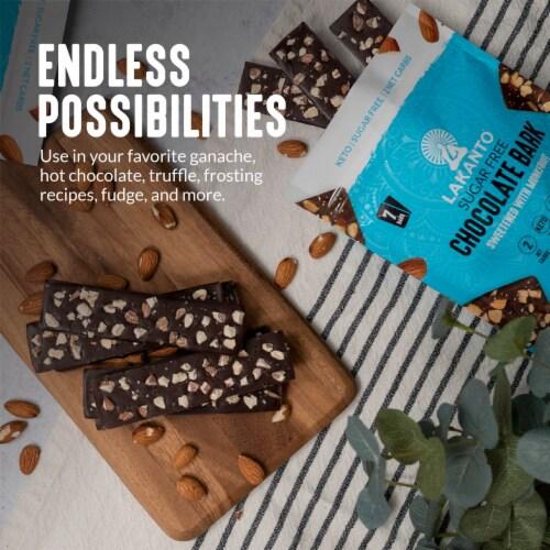 Lakanto Sugar Free Chocolate Bark - Sea Salt and Almonds, Sweetened with Monkfruit (5 Oz) Perspective: left