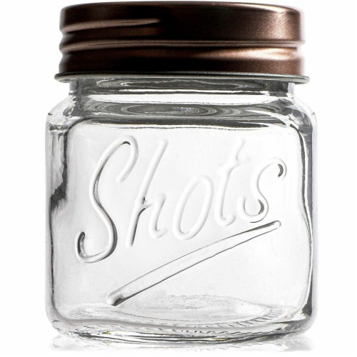 Mini Mason Jars Shot Glasses with Lids in Bulk Set (2 Ounce, 12-Pack) Perspective: left