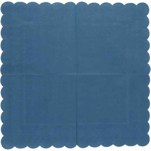 Scalloped Party Cocktail Napkins (5 x 5 In, Dark Blue, 100-Pack) Perspective: left