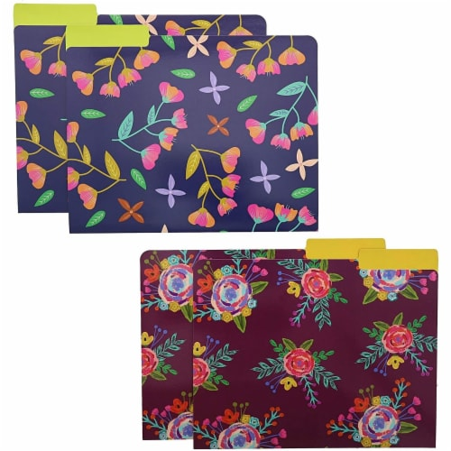 Decorative File Folders with 1/3 Cut Tabs, 6 Vintage Floral Designs (9.5 x 11.5 In, 12 Pack) Perspective: left