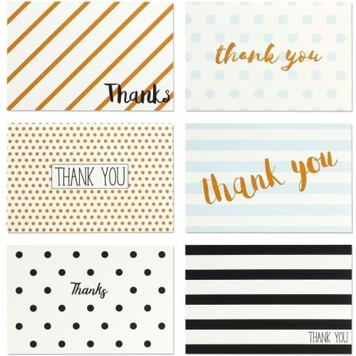 Assorted Thank You Cards Bulk, Blank Greeting Notes with Envelopes (4x6 In, 144 Pack) Perspective: left