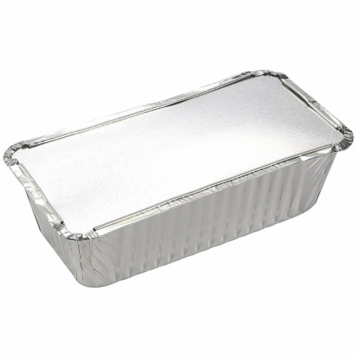 50 Pack Disposable Aluminum Foil Loaf Pans with Lid, 22 Ounce, 8.5 x 2.5 x 4.5 inches Perspective: left