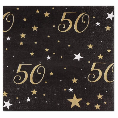 50th Birthday Party Dinnerware Bundle, Serves 24 Guests (144 Pieces) Perspective: left