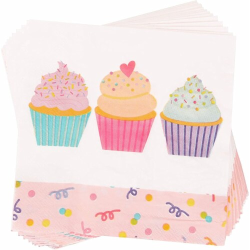Cupcake Party Supplies, Paper Plates, Napkins, Cups and Cutlery (Serves 24, 144 Pieces) Perspective: left