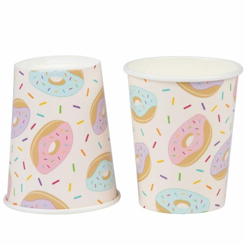 Donut Party Supplies, Paper Plates, Napkins, Cups and Plastic Cutlery (Serves 24, 144 Pieces) Perspective: left