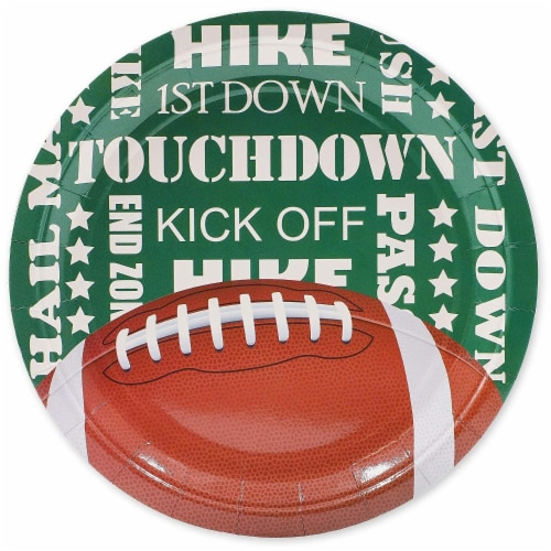 Football Party Bundle Includes Plates, Napkins, Cups, and Cutlery (Serves 24, 144 Pieces) Perspective: left