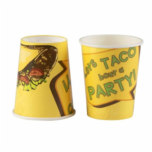 Taco Party Bundle, Includes Plates, Napkins, Cups, and Cutlery (24 Guests,144 Pieces) Perspective: left