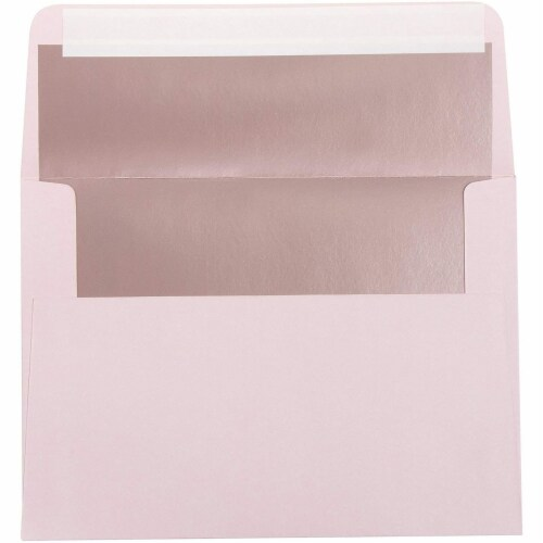 50-Pack A7 Blush with Rose Gold Foil Lined Wedding Birthday Invites Envelopes Perspective: left