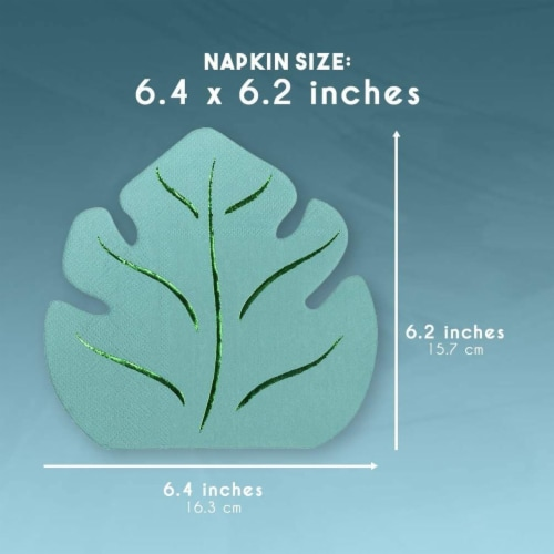 Green Leaf Shape Paper Napkins for Hawaiian Luau Party (6.4 x 6.2 In, 50 Pack) Perspective: left