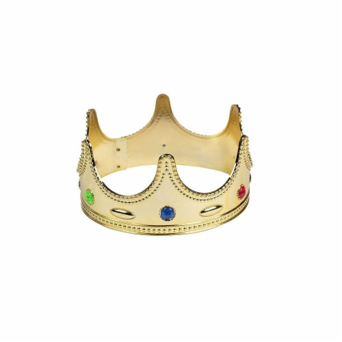 Gold Crown - 4-Pack Royal King and Queen Jeweled Costume Accessories, Party Hat Perspective: left