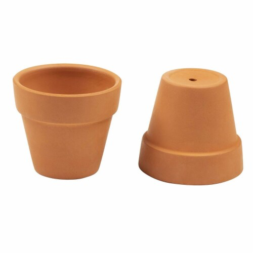 12 Pack Small Terra Cotta Pots with Saucers for Indoor and Outdoor, Brown, 2.7 x 2.5 inches Perspective: left