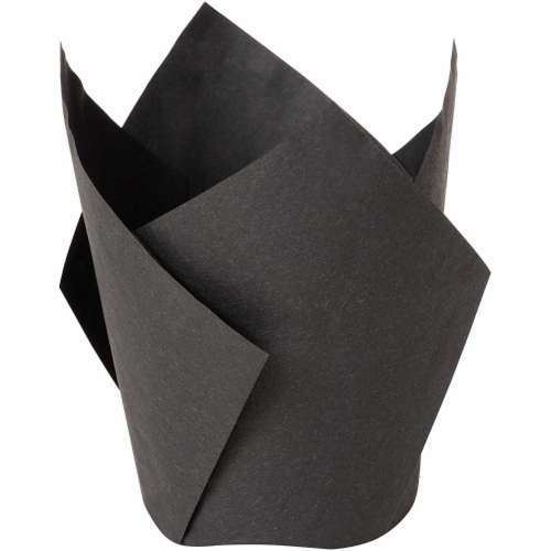 100-Pack Black Paper Tulip Cupcake Liners, Muffin Baking Cups Perspective: left