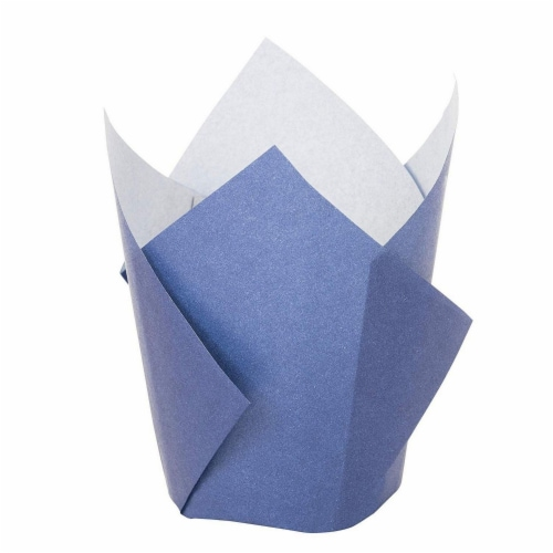 100-Pack Navy Blue Paper Tulip Cupcake Liners, Muffin Wrappers, Baking Cups Perspective: left