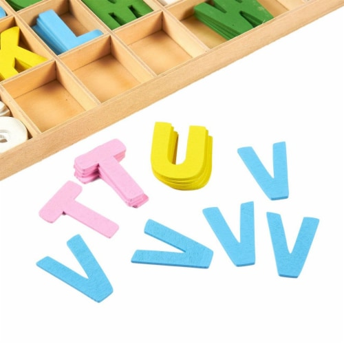260-Piece Wooden Alphabet Letters with Storage Tray Set, Kids Learning Toy - Multicolor Perspective: left