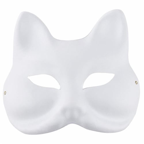 12 Pack Paper Mardi Gras Paper Masks - for DIY and Masquerade Party, White Perspective: left
