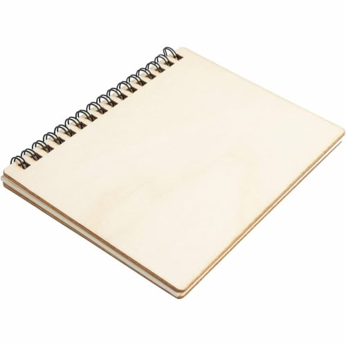 Wooden Cover Spiral Journal Notebooks, 20 Sheets Each (4.5 x 5.8 In, 4 Pack) Perspective: left