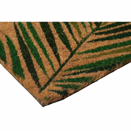 Tropical Green Palm Welcome Mat, Natural Coir Doormat (30 x 17.2 x 0.5 in) Perspective: left