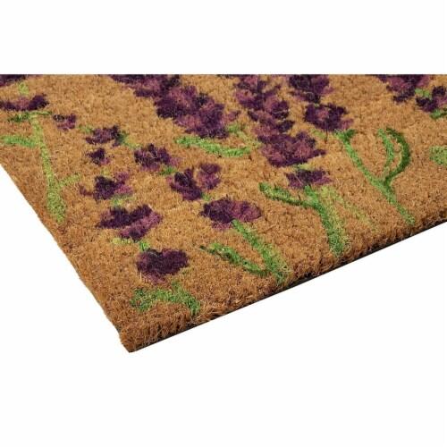 Lavender Plant Welcome Mat, Natural Coir Doormat (30 x 17.2 x 0.5 in) Perspective: left