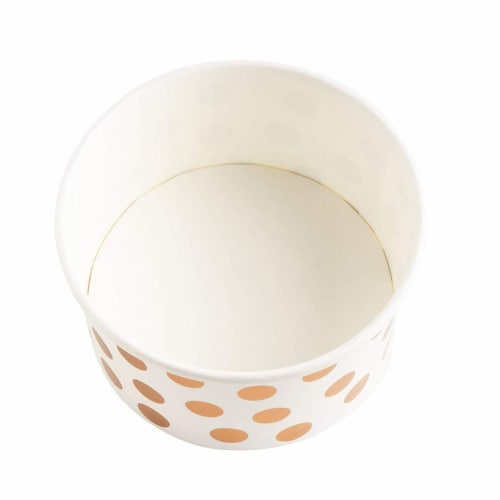 50-Pack 8 oz Disposable Paper Ice Cream Cup, Rose Gold Foil Polka Dots Design, White Perspective: left