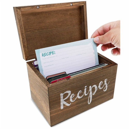 Juvale Wood Recipe Organization Box with Cards and Dividers, 7.1 x 5 x 4.7 Inches Perspective: left