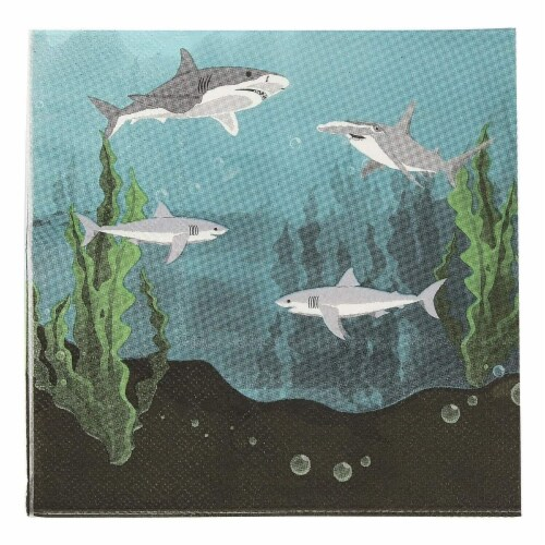 Shark Party Bundle Includes Plates, Napkins, Cups, and Cutlery (Serves 24, 144 Pieces) Perspective: left