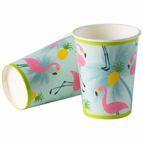 Flamingo Party Bundle Includes Plates, Napkins, Cups, and Cutlery (Serves 24,144 Pieces) Perspective: left