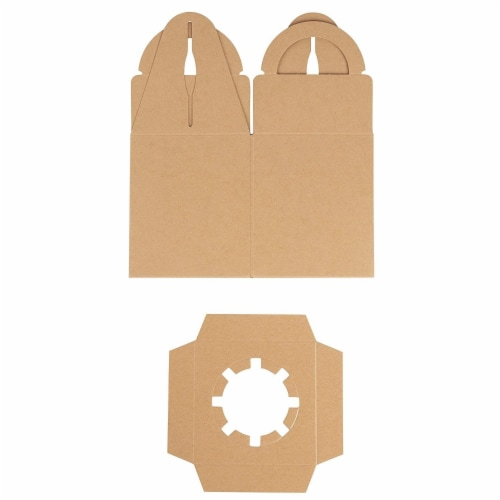 50-Pack Kraft Paper Cupcake Boxes with Clear Display Window, Brown, 3.7 x 4.2 x 3.7 Inches Perspective: left