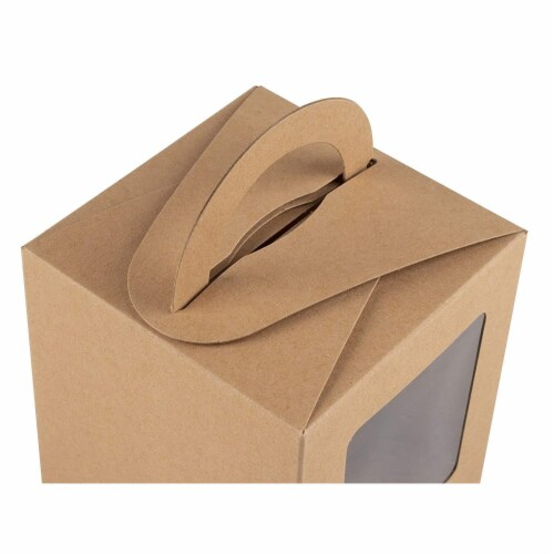 100-Pack Kraft Paper Cupcake Boxes with Clear Display Window, Brown, 3.7 x 4.2 x 3.7 Inches Perspective: left