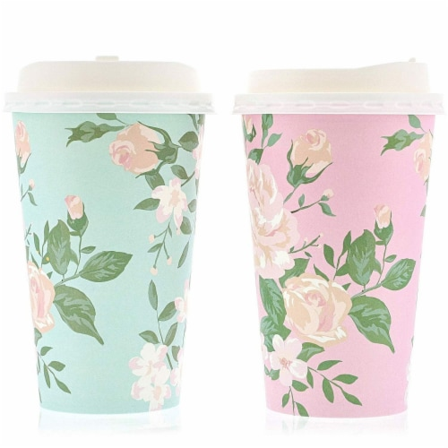 48 Pack Vintage Floral Paper Insulated Coffee Cups with Lids, 4 Designs, 16 Ounces Perspective: left