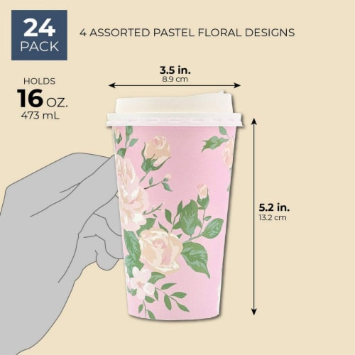 24 Pack Vintage Floral Paper Insulated Coffee Cups with Lids, 4 Designs, 16 Ounces Perspective: left