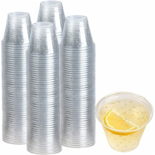 200-Pack Stars Print Plastic Drinking Cups Disposable for Party Birthday Wedding Perspective: left