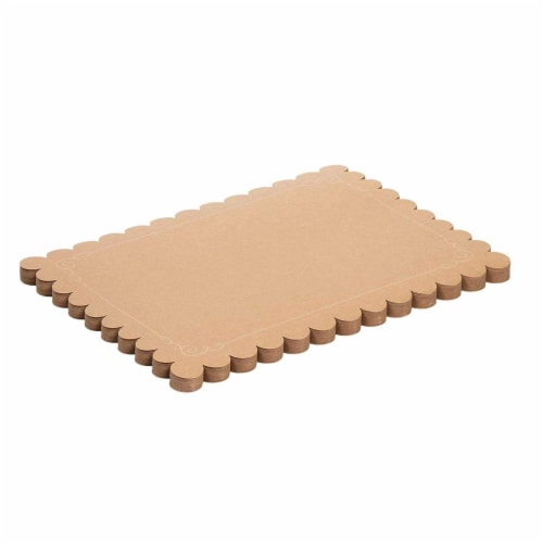 Juvale 100 Pack Disposable Placemats with Scallop Edge, Brown Kraft Paper (10 x 14 in) Perspective: left