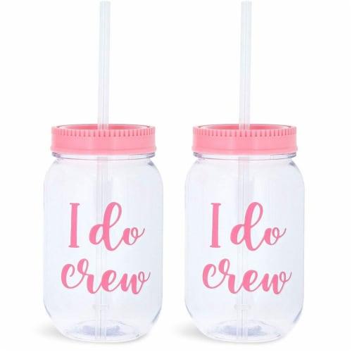 I Do Crew Plastic Mason Jars for Bachelorette Party, Bridal Shower (12 Pack) Perspective: left
