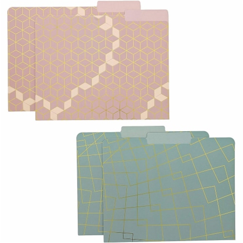 Geometric Decorative File Folders with 1/3 Cut Tab (11.5 x 9.5 In, 12 Pack) Perspective: left