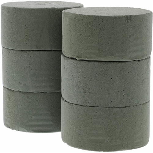 Floral Foam Cylinder for Fresh Flower Arrangements (3.75 x 1.8 in, 6-Pack) Perspective: left